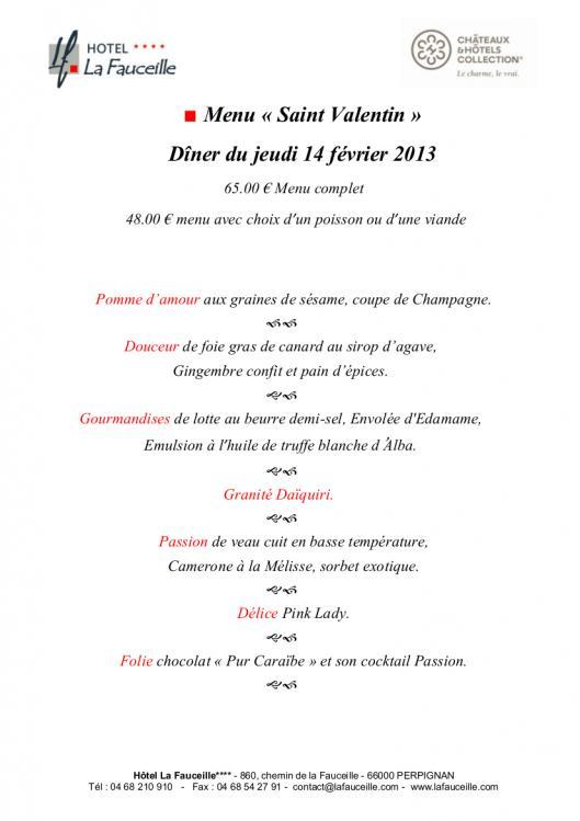 le menu de la saint valentin au restaurant gastronomique. Black Bedroom Furniture Sets. Home Design Ideas